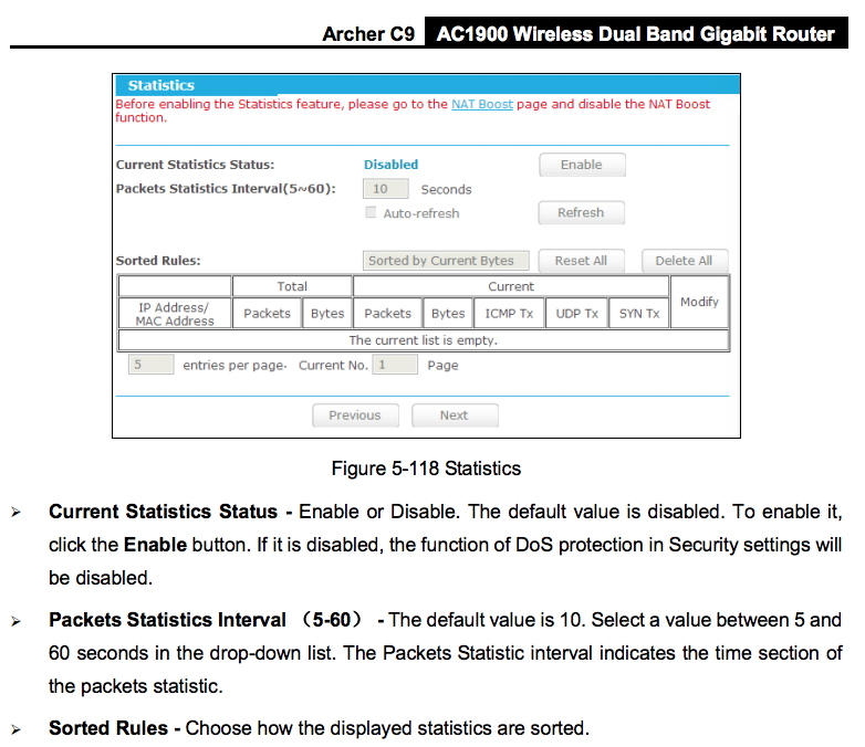 TP-LINK Archer C9 802.11ac Wireless Router Advanced Statistics Capabilities